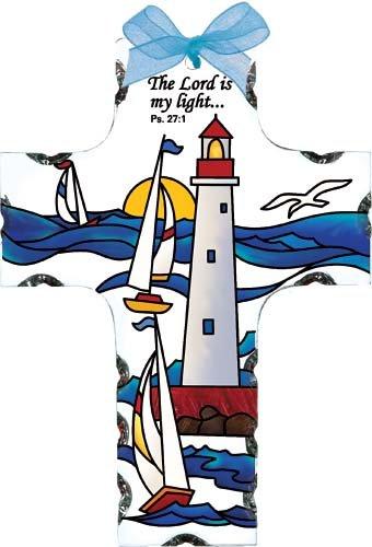 Lighthouse Suncatcher (Lighthouse & Sailboats Lord is My Light Cross Stained Glass Suncatcher (SX2013R))