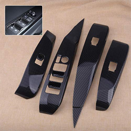 SalaBox-Accessories - 4pcs Carbon Fiber Style ABS Door Window Lift Switch Button Cover Trim Panel Fit For Toyota Camry Car ()