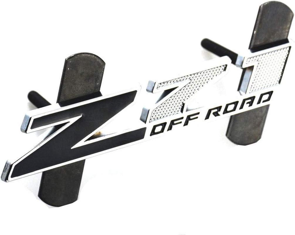Black//Black 5 Inch Red Grille Z71 Off Road Emblem Badge for Gm Silverado 2500hd 3500hd Sierra Tahoe Chrome