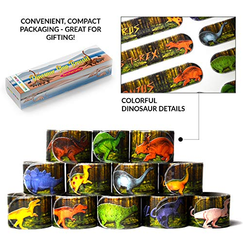 Dinosaur Slap Bracelets Party Favors Combo (12 designs) Wristband slap band Jurassic World Toys for birthday party, School Classroom exchange novelty carnival Prizes For Kids Boys Girls & Adults