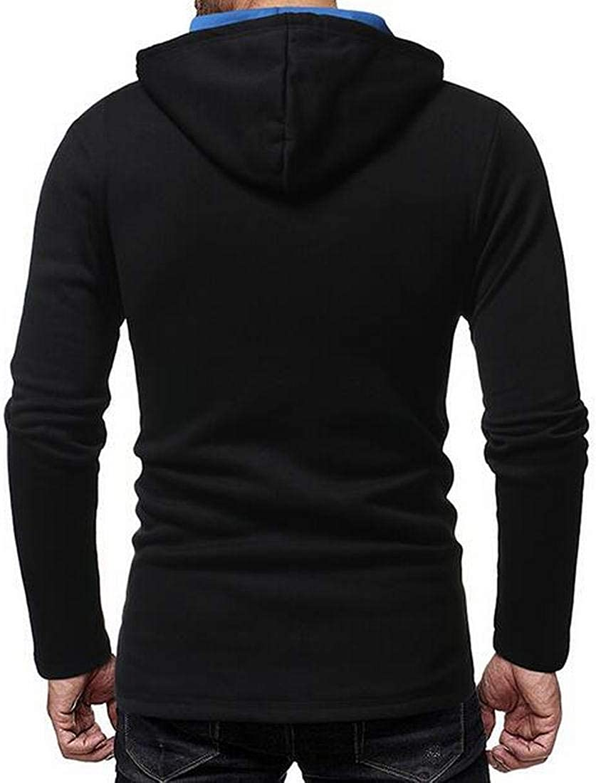 MK988 Mens Gym Color Block Drawstring Slim Buttons Trim Pullover Hooded Hoodie Sweatshirt