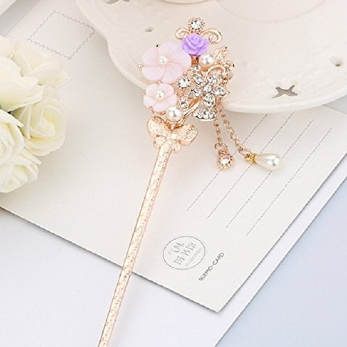 Retro Palace Classical Hairpin Bride Headdress Diamond Tassel Step Shake Antiquity Hairpin Plate Hair Ornaments Hairpins Hair Coil Twist (Freesia