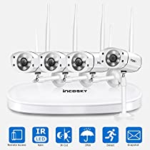 incoSKY Wireless Security Camera System 1080P WiFi Video NVR with 4 Wireless Bullet IP Cameras Waterproof IP66 Night Vision for Home Surveillance W3