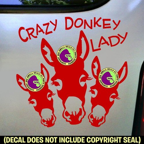 CRAZY DONKEY LADY Burro Love Decal Vinyl Bumper Sticker Laptop Window Car Trailer Sign Wall RED