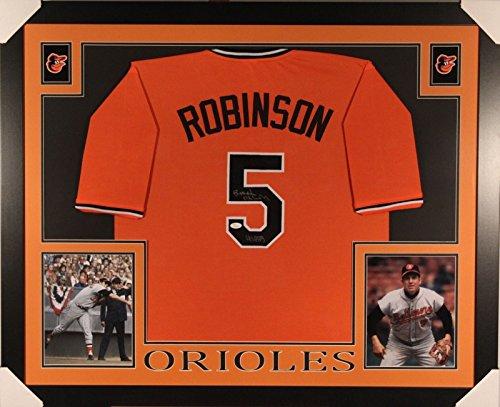 Baltimore Orioles Brooks Robinson Framed (Autographed/Signed Brooks Robinson Framed 35x43 Inscribed HOF 83 Baltimore Orioles Baseball Jersey JSA COA)