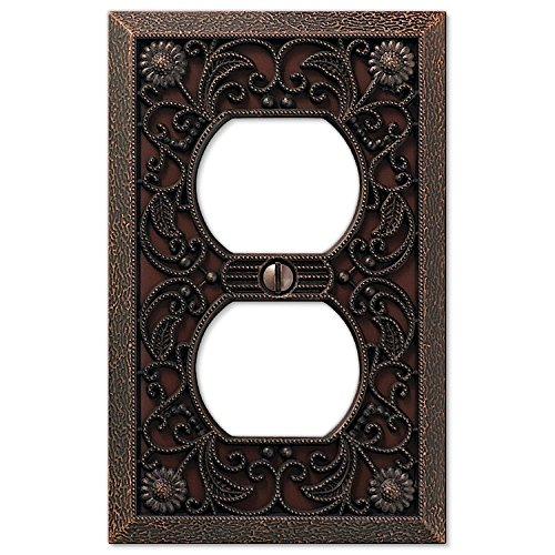 Filigree Single-Duplex Cover Plate in Aged Bronze