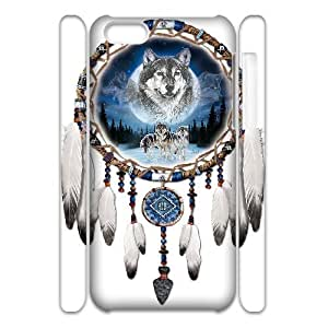 Cell phone 3D Bumper Plastic Case Of Wolf Dream Catcher For iPhone 5C