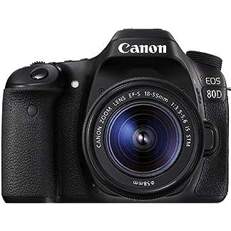 Canon EOS 80D 24.2MP Digital SLR Camera (Black) + EF-S 18-55mm STM Lens Kit + Memory card 14
