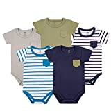 Kyпить Hudson Baby Baby Infant Cotton Bodysuits, Blue and Olive 5 Pack, 9-12 Months на Amazon.com