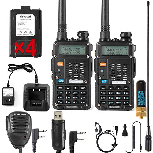 Ham Radio Walkie Talkie (UV-5R 8-Watt) UHF VHF Dual Band 2-Way Radio with 8 Rechargeable 2100mAh Battery Handheld Walkie Talkies Complete Set with Earpiece and Programming Cable (2 Pack)