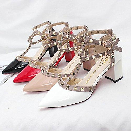 Image of Vlad Konovalov Women Pumps Rivet Slingback Studs Straps Stilettos High Heels Pointed Toe Sandals