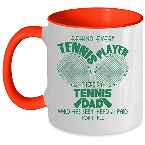 Cool Dad Coffee Mug, Behind Every Tennis Player There's A Tennis Dad Accent Mug (Accent Mug - Blue)