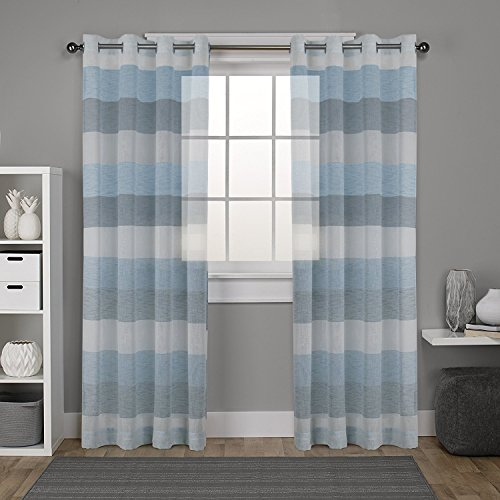 DEZENE Stripe Sheer Curtains for French Doors - 2 Panels - Faux Linen Grommets Voile Curtains - 54 Inches Width x 96 Inches Long (Total 108