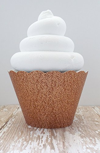 Rose Gold Metallic Glitter Cupcake Wrappers - Standard and Mini Sized Holders - Set of 12 (Cup Rose Petite)