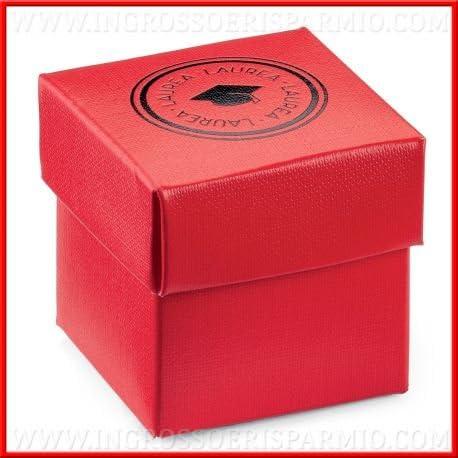 Ingrosso y bajo caja portaconfetti de cartón rojo de forma cúbica con tapa extraíble decorada de texto Graduation y birrete negra y Tocco (tinta – Bomboniere graduación, confettate: Amazon.es: Hogar