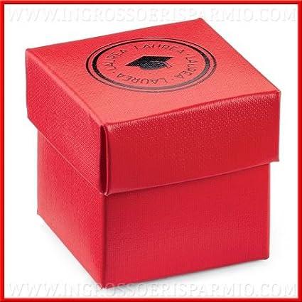 Ingrosso y bajo caja portaconfetti de cartón rojo de forma cúbica con tapa extraíble decorada de