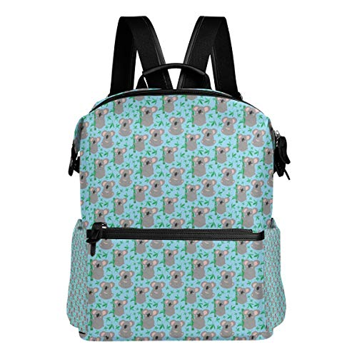 Travel Laptop Backpack Koala Bear With Green Bamboo Blue Durable College School Computer Bookbag for Outdoor Camping -