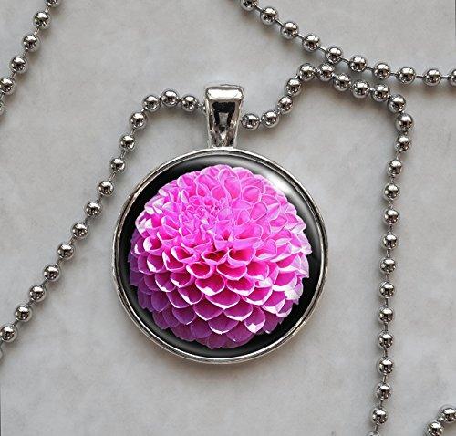 Dahlia Pink Magenta Flower Pendant Necklace