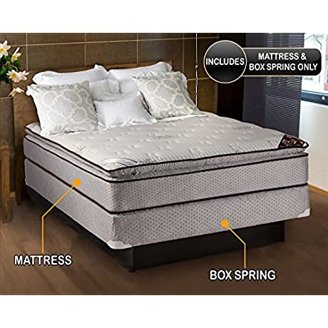 Spinal Dream Plush Pillow Top Eurotop Queen 60 X80 X12 Mattress And Box Spring Set Sleep System With Enhanced Cushion Support Assembled By Dream Solutions USA