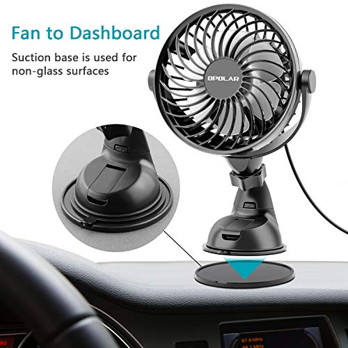 OPOLAR Car/Vehicle USB Fan with Four Speeds, Strong attraction on Windshield/Car Window, Whisper Quiet, 360-degree rotation, Cooling Fan for Sedan SUV RV Boat Auto Vehicles, 4.9 Feet Cable by OPOLAR (Image #2)