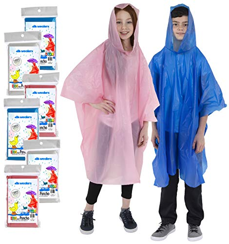 Wealers Emergency Kids Rain Poncho with Hood & Breathable Eva Material - Commuter Friendly Survival Kit Accessory for Travel Trailblazing Picnics Camping School Corporate Events (Assorted) (6 Pack)
