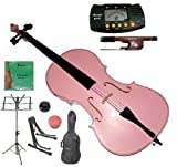 Merano 4/4 Full Size Pink Student Cello with Bag and Bow+2 Sets of Strings+Cello Stand+Black Music Stand+Metro Tuner+Rosin+Rubber Round Mute