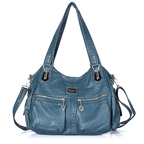 Handbag Hobo Women Bag Roomy Multiple Pockets Street ladies' Shoulder Bag Fashion PU Tote Satchel Bag (3161 12#Green) by Angel Barcelo