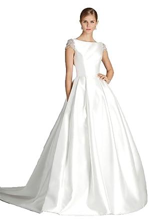 Kelaixiang White A Line Wedding Dresses for Bride Beaded Cap Sleeve ...