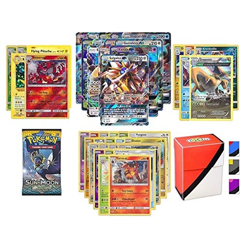 Pokemon GX Guaranteed with Booster Pack, 5 Rare Cards, 5 Holo/Reverse Holo Cards, 20 Regular Pokemon Cards and Totem Deck Box (Pokemon Plush Toys Garchomp)