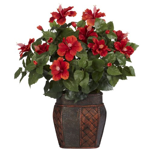 Nearly Natural 6667 Hibiscus with Vase Decorative Silk Plant, Red ()