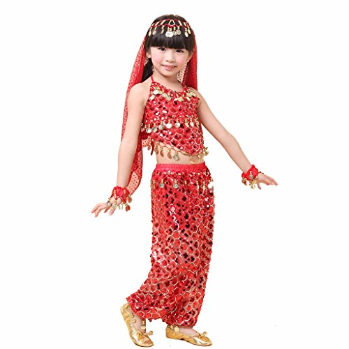(Pilot-trade Kid's Belly Dance Girl Halter Top, Harem Pants, Halloween Costume Set)