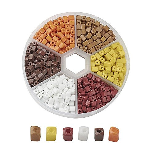 AMZ Beads - 1,000+ Mixed 6/0 (3-7mm) Assorted Square Cube Loose Spacer Seed Beads for Jewelry Making Craft DIY Projects Necklaces Bracelets - Includes Storage Container Case! (Browns) Dark Brown Seed Bead