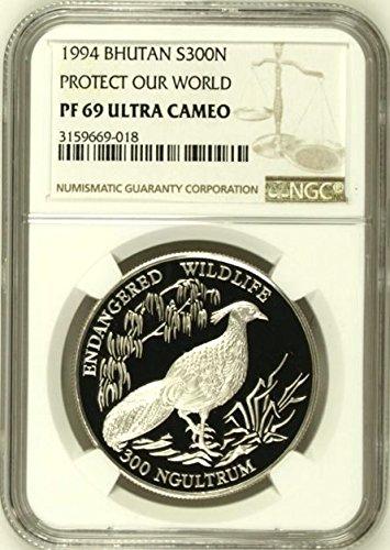 1994 BT Bhutan 1994 Silver Coin 300 Ngultrums Kalij Pheas coin PF 69 Ultra Cameo NGC