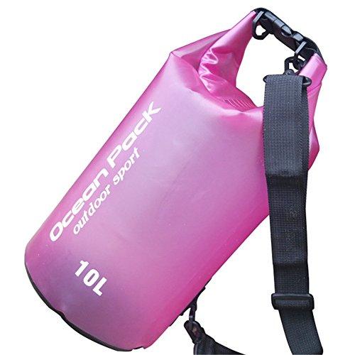 gzq Wasserdicht Dry Bag Multifunktional Aufbewahrungstaschen mit langem Verstellbare Schultergurte für Kajak Wassersport Kanu fahren Angeln Rafting Schwimmen Camping Snowboarden Wandern Strand 10L rosarot
