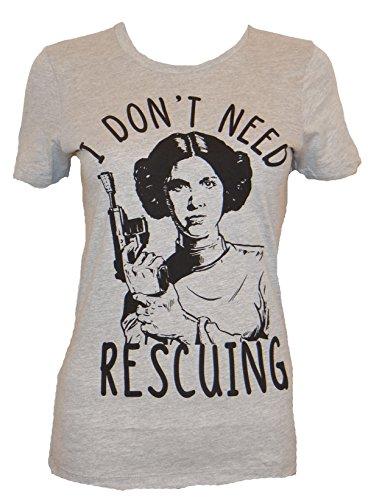Disney Princess Leia Don't Need Rescuing Juniors T-shirt (XXL,Heather Grey) (Princess Leia Disney Princess)
