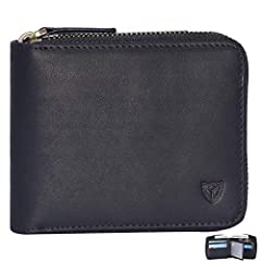 DONWORD Zipper Wallet Benefits Multi Card Holder - hold 13 cards, ID card, coin, TF card, SIM card, 100% cow leather, crazy horse leather. Enough space to put cards and cash. Bifold style, vintage look. RFID blocking prevent for theft black,...