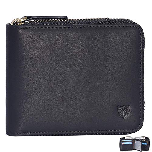 RFID Men's Leather Zipper wallet Zip Around Wallet Bifold Multi Card Holder Purse (Black)