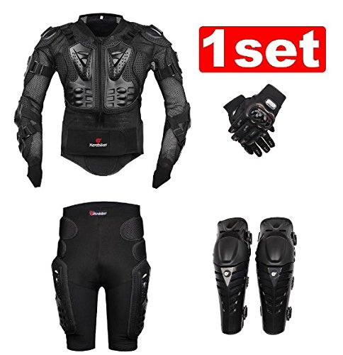 Motorcycle Racing Body Armor Set Protective Jacket Gear Motorcycle Knee Pads and Gloves (Supermoto Jacket)