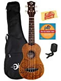 Luna Tattoo Mahogany Soprano Ukulele Bundle with Gig Bag, Austin Bazaar Instructional DVD, Clip-On Tuner, and Polishing Cloth