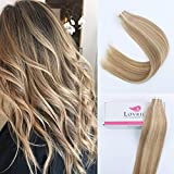Lovrio 18' 20 Pcs 50g Tape in Human Hair Piano Color Skin Weft Bronde Mixed with Warm Golden Blonde and Beach Blonde/Bleach Blonde Color P10-16-613 Reusable Pastel Double Sided