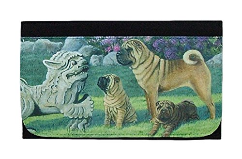 (Gone Doggin Shar Pei Picture Wallet #2 - Black Poly Duck Material with Dog Artwork Cover)
