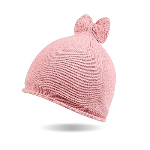 Knit Beanie Cap Winter Warm Infant Girls Soft Hat Cotton Lined with Bowknot (Pink, 0-6 M) ()
