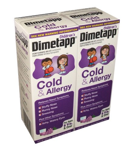 (Children's Dimetapp Cold and Allergy Grape Flavored Cough Syrup 8 Ounce Bottle (Pack of 2))