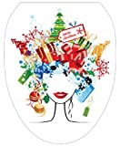 Toilet Tattoos TT-X612-O Christmas Lady Decorative Applique For Toilet Lid, Elongated