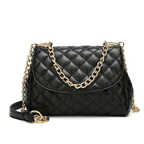 republe Colore solido delle donne della ragazza borsa dell'unità di elaborazione chiusura magnetica chain mezza tracolla borse a spalla Nero
