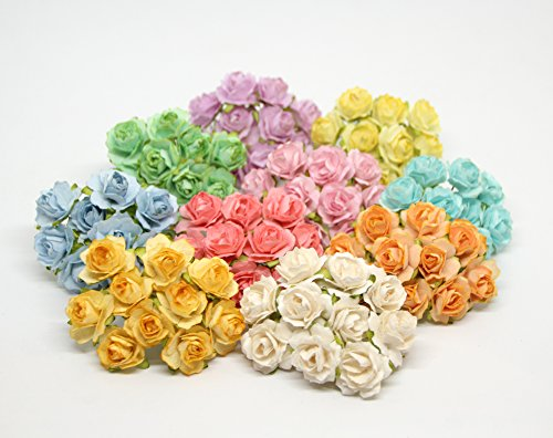 ScrapFlowers 100 Tea Paper Rose Flowers for Scrapbooking in Mixed Colors, Wedding and Baby Shower Decorations, Favours DIY (2 cm Diameter) by ScrapFlowers