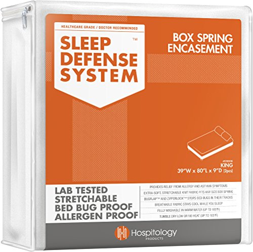 HOSPITOLOGY PRODUCTS Sleep Defense System - PREMIUM Zippered Bed Bug & Dust Mite Proof Box Spring Encasement & Hypoallergenic Protector - 2 pcs, 39-Inch by 80-Inch, King (for Split King Box Springs) ()