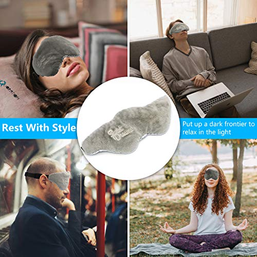 Advanced Weighted Sleep Mask with Adjustable Head Strap - Premium Double-Sided Light-Proof Weighted Sleeping Mask - Faster and Deeper Sleep - Comfortable and Perfect for Anxiety & Insomnia (Gray)