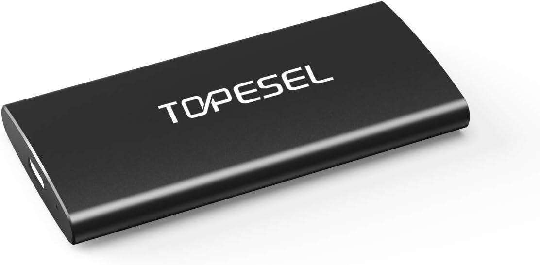 Disco Duro SSD Externo 250GB, TOPESEL Externa Disco Estado Sólido SSD Portátil Unidad Externa 500 MB/s, USB Tipo C USB 3.1 Solid Sate Drive para PC, Ordenador, Mac y Móvil, Negro