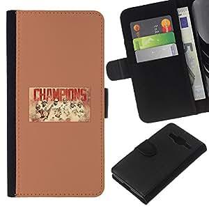 Campeones del béisbol - la tarjeta de Crédito Slots PU Funda de cuero Monedero caso cubierta de piel Para Samsung Galaxy Core Prime